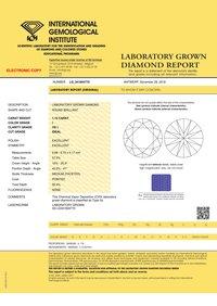 CVD Diamond 1.15ct I VS1 Round Brilliant Cut IGI Certified Stone