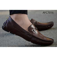 Mens Casual Brown Leather Loafers