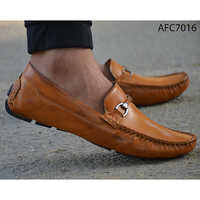 Mens Casual Light Brown Leather Loafers