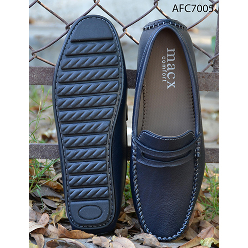 Mens Navy Blue Leather Loafers