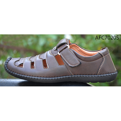 Mens Off Brown Leather Sandals