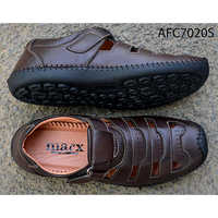 Mens Shiny Brown Leather Sandals