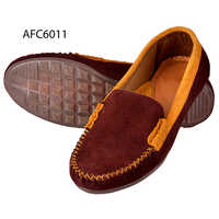 Mens Cherry Brown Rough Leather Loafers