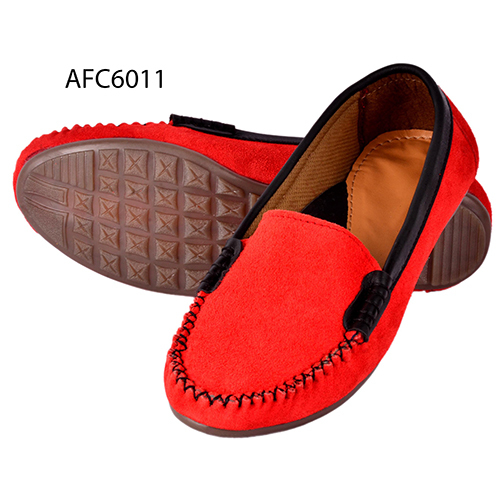 Mens Red Rough Leather Loafers