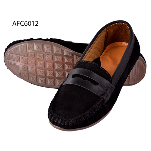 Mens Black Rough Leather Loafers