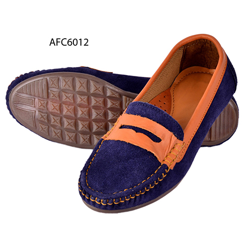 Mens Blue Rough Leather Loafers
