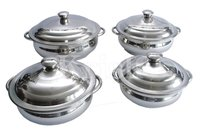 Star Belly Dish Set with Steel Handle - 4 Pcs