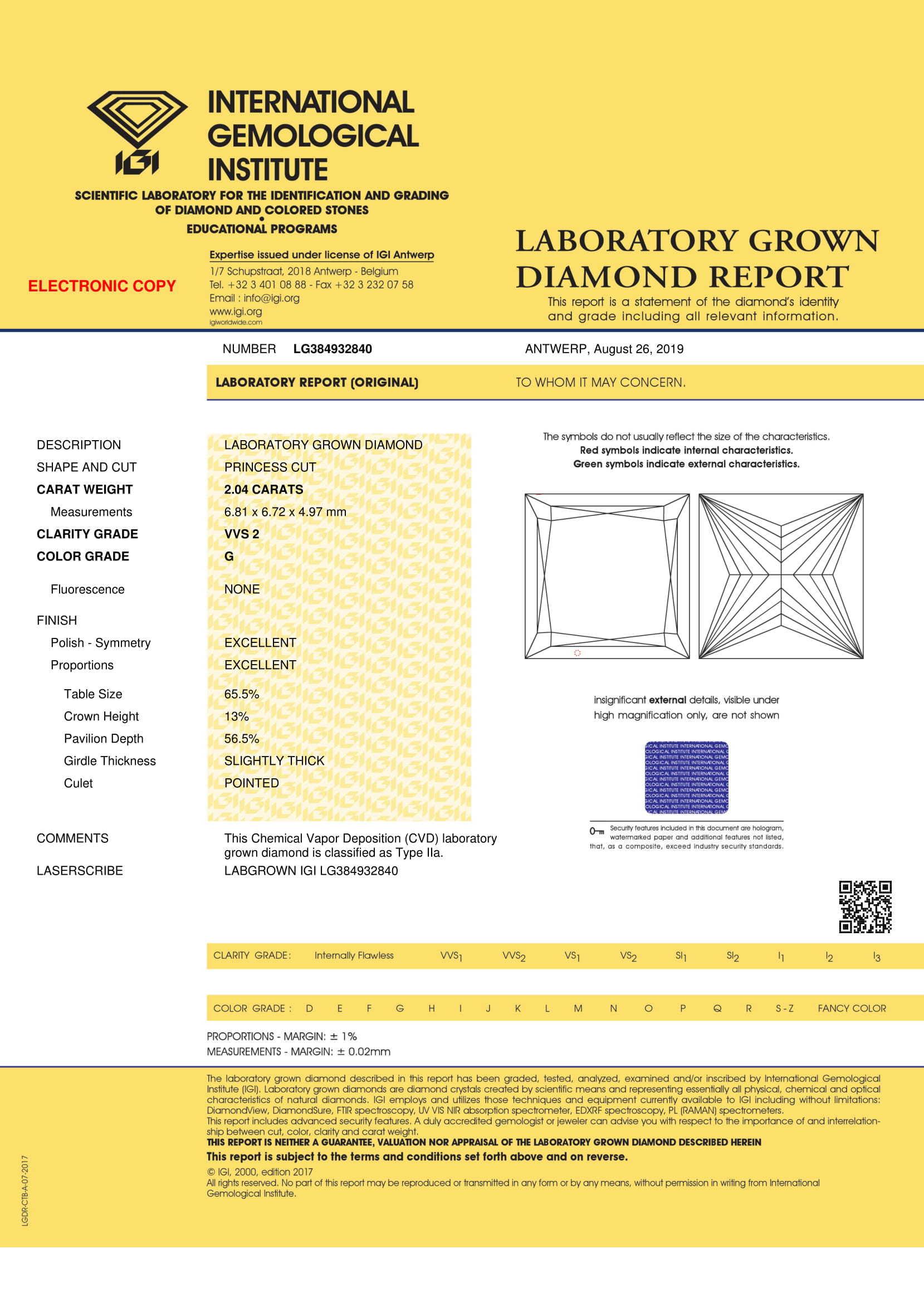CVD Diamond 2.04ct G VVS2 Princess Shape IGI Certified Stone
