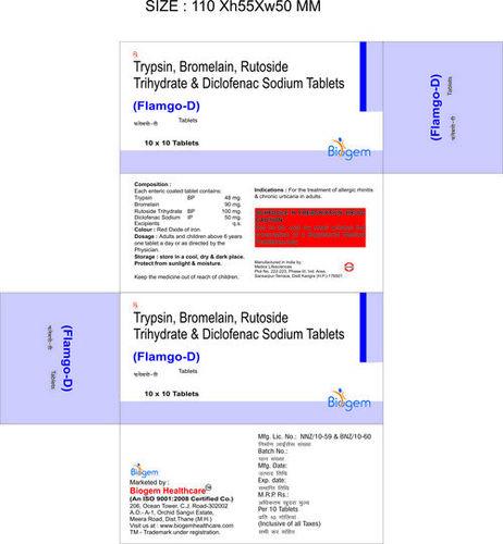 TRYPSIN 48 BROME 90 RUTOSIDE 100 DICLOFENAC 50