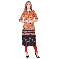 Orange base Navy Blue Booty Rayon Print Kurti with Front Emboridery and tassels on Neck