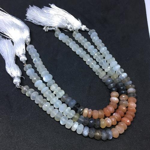 Multi moonstone faceted rondelles|8 inch strand|multi moonstone beads 7.5mm