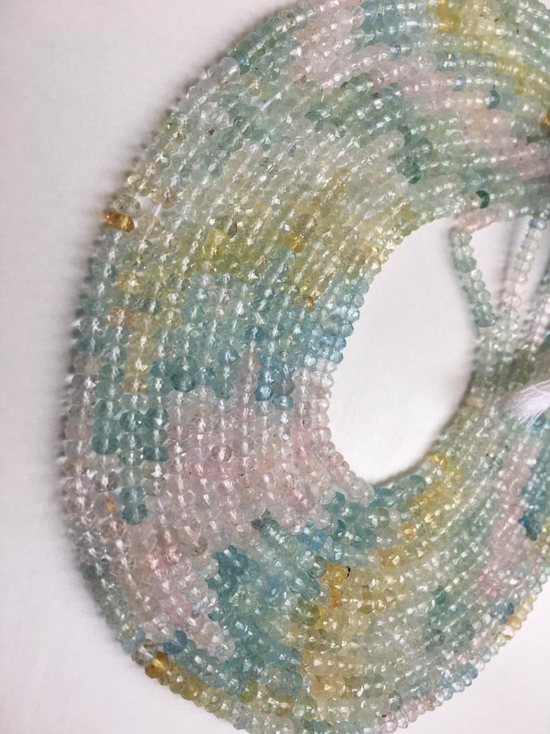 Multi aquamarine shaded micro faceted beads|3.5mm|multi aquamarine beads 13 inches