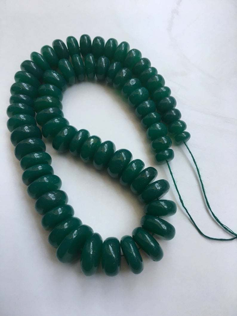 Natural Green onyx smooth disc rondelle beads|10mm-15mm|green onyx tyre beads 16 inches