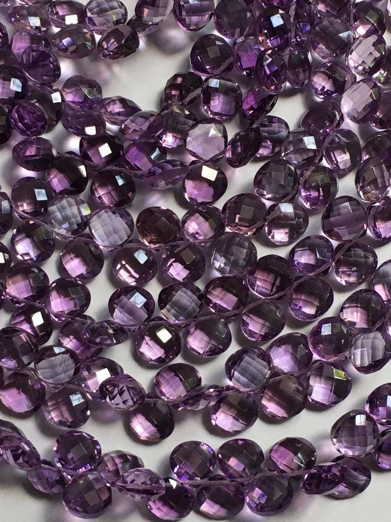 Full 8 inch strand AAA amethyst heart briolette 8/8mm, ,finest quality amethyst briolette beads
