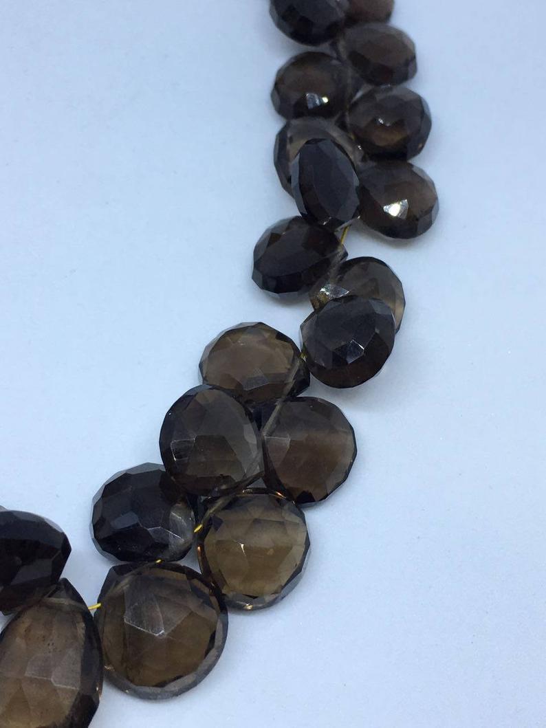 Smokey Hearts Shape Beads, 8x8-12x12mm, 8 Inches Strand