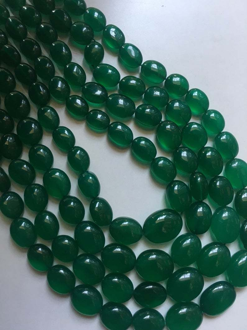13 inch AAA quality green onyx smooth oval nuggets beads,green onyx nuggets