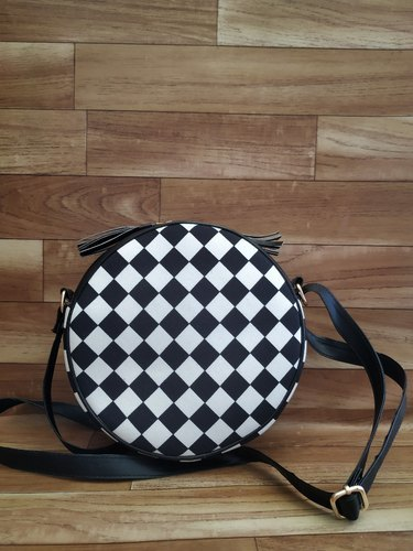 Black Round Sling Hand Bags