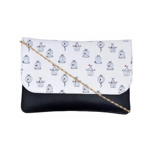 Azzra Black White Sling Clutch Bag