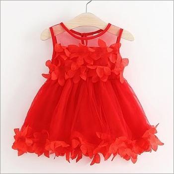 Girls Red Party Wear Frock