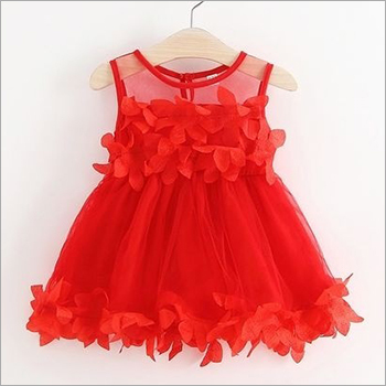 Girls Red Party Wear Frock