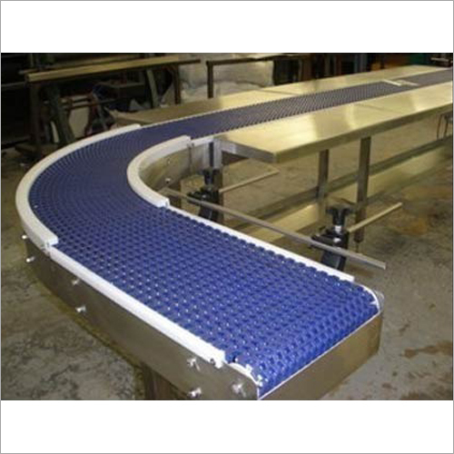 90 Degree Bend Modular Conveyor Belt With Work Table