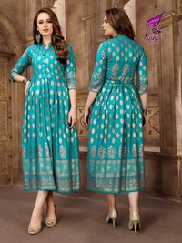 RAYON LONG FRILL KURTI WHOLESALE PRICE