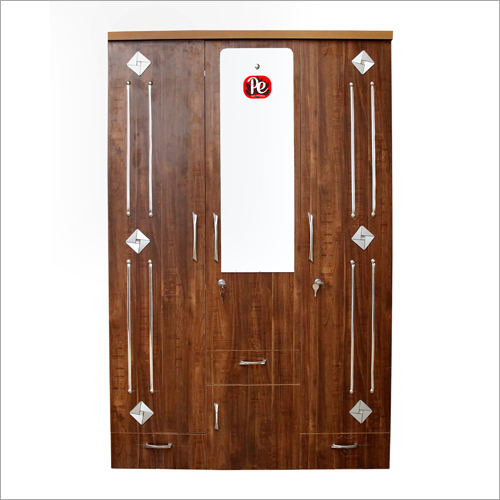 Wooden Three Door Almirah With Mirror