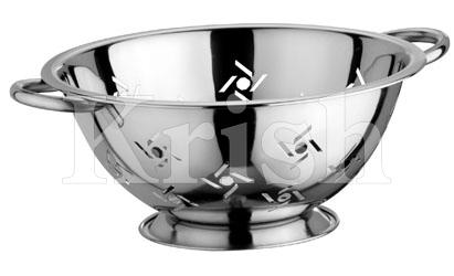 Deep Colander With Swastik Cutting