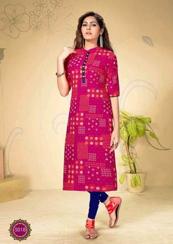 RAYON PRINTED STRAIGHT CASUAL WEAR KURTI