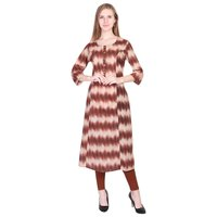 New Designer Maroon zig zag cotton Flared A Line kurti with Wooden Button