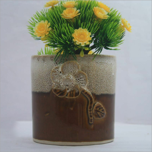 Engraved Ceramic Flower Planter