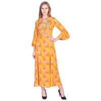 Yellow checks rayon flared kurti with Embroidery on Front and Buttons