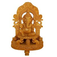 Wooden Hadmed Ganesh Back Merav Carving Stetu Idol 30 cm