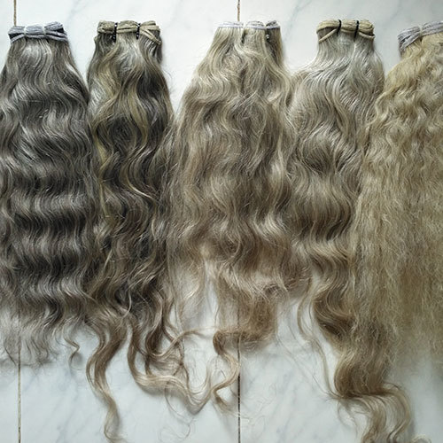 Natural Silver Grey Human Hair Extensions