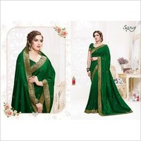 fancy silk Zari border saree