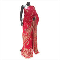 Pure Silk Embroidered Bridal Saree