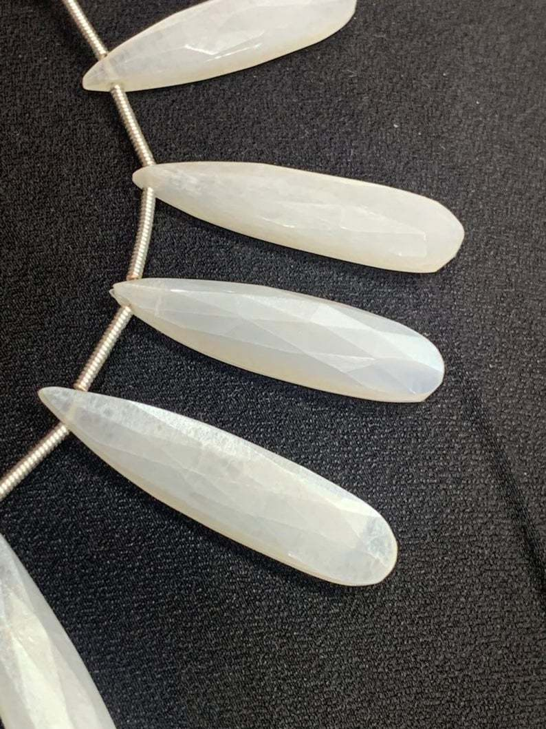 Gorgeous natural moonstone pear briolette beads, 8 inch strand, 7/24-7/34mm,white moonstone beads