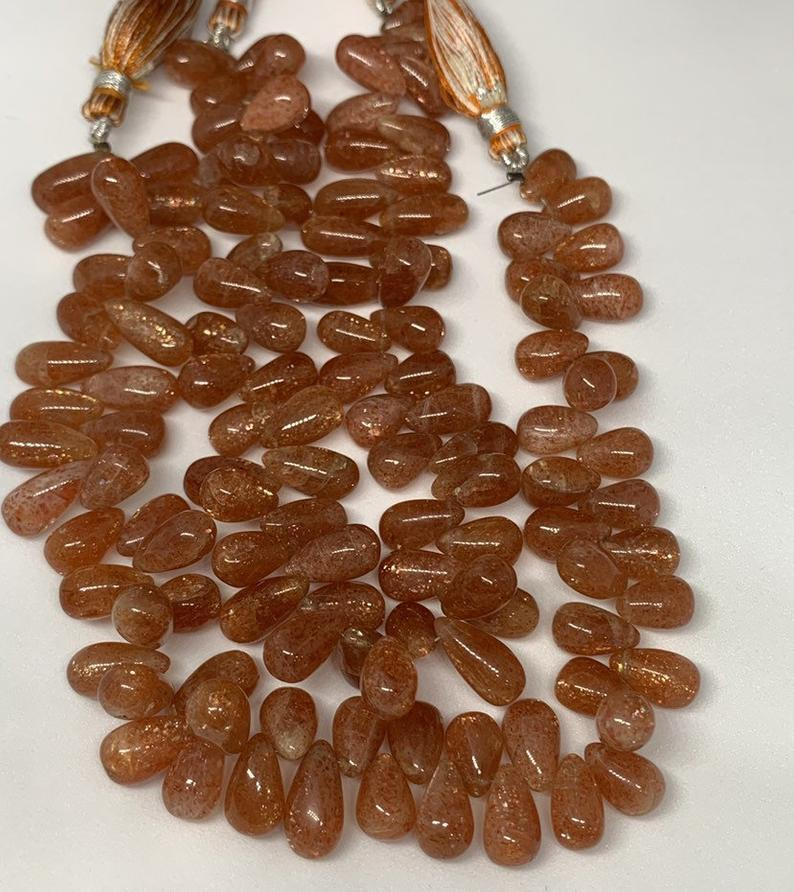 9 inches good quality natural sunstone smooth teardrops beads,sunstone drops beads