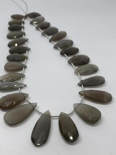Grey moonstone pear faceted briolette,top quality grey moonstone drops briolette,26 pcs