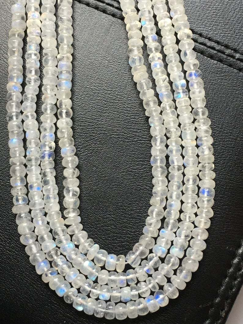 16 inch long Fine quality White rainbow smooth rondelle beads,5-6mm