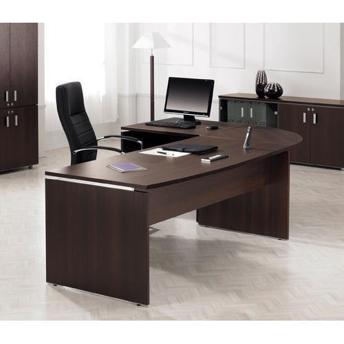 L shape cabin desk with round corner