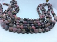 Rhodonite 8mm round beads, 15 inches long strand