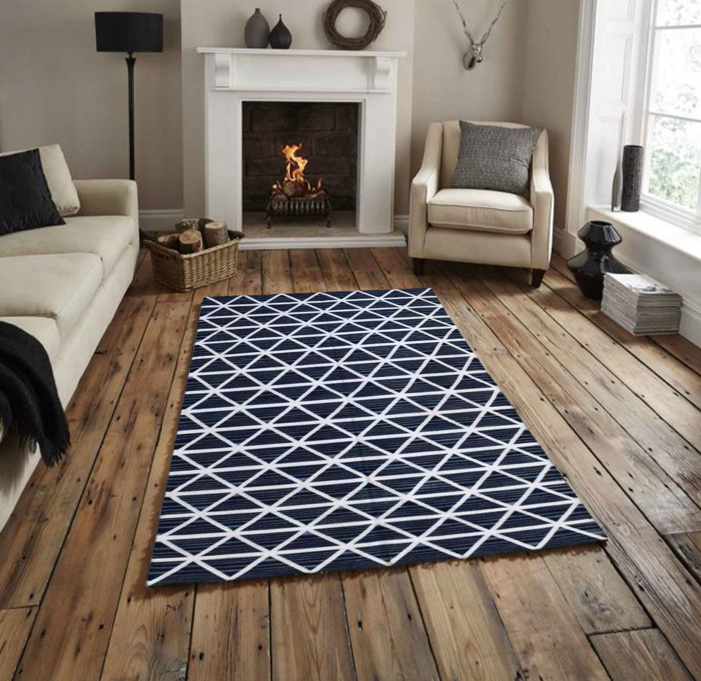 Geometrical Cotton Flat Weave Rug
