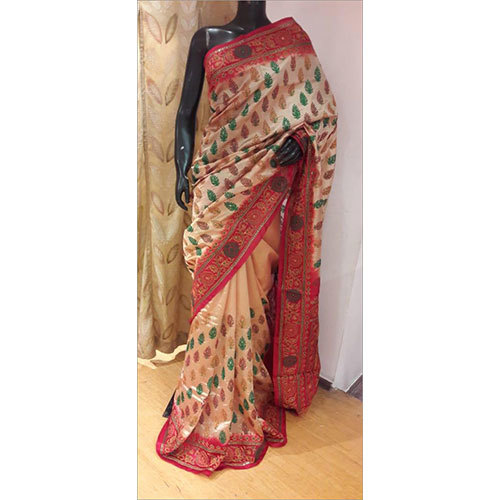 100% Pure Hand Embroidered Silk Saree