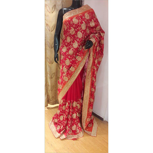 100% Pure Handloom Silk Zari Embroidery Saree