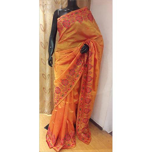 100% Pure Silk Resham Embroidery Saree