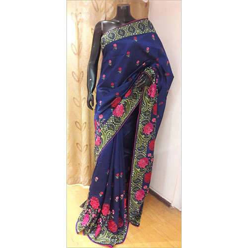 Silk Resham Embroidered Saree