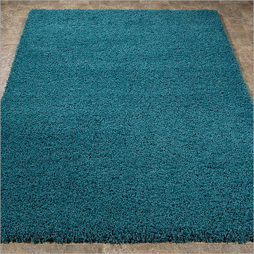 Sea Blue Plain Rustic Carpet