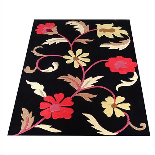 Floral Printed Black Carpet