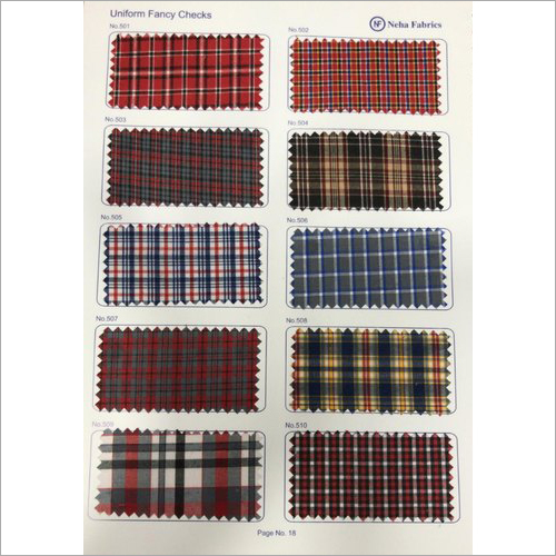 Cotton Check Uniform Fabric